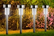 Illuminate Your Outdoor Area With a Set of 4 Stainless Steel Solar LED Garden Lights for Just $24! Worth $49. No Wires, No Electricity Needed